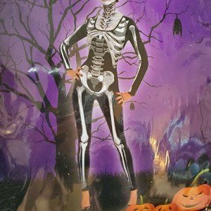 Womens Halloween Skeleton Jumpsuit Costume Fitted